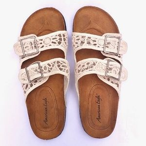 American Eagle Double Buckle Lace Sandals, Size 7